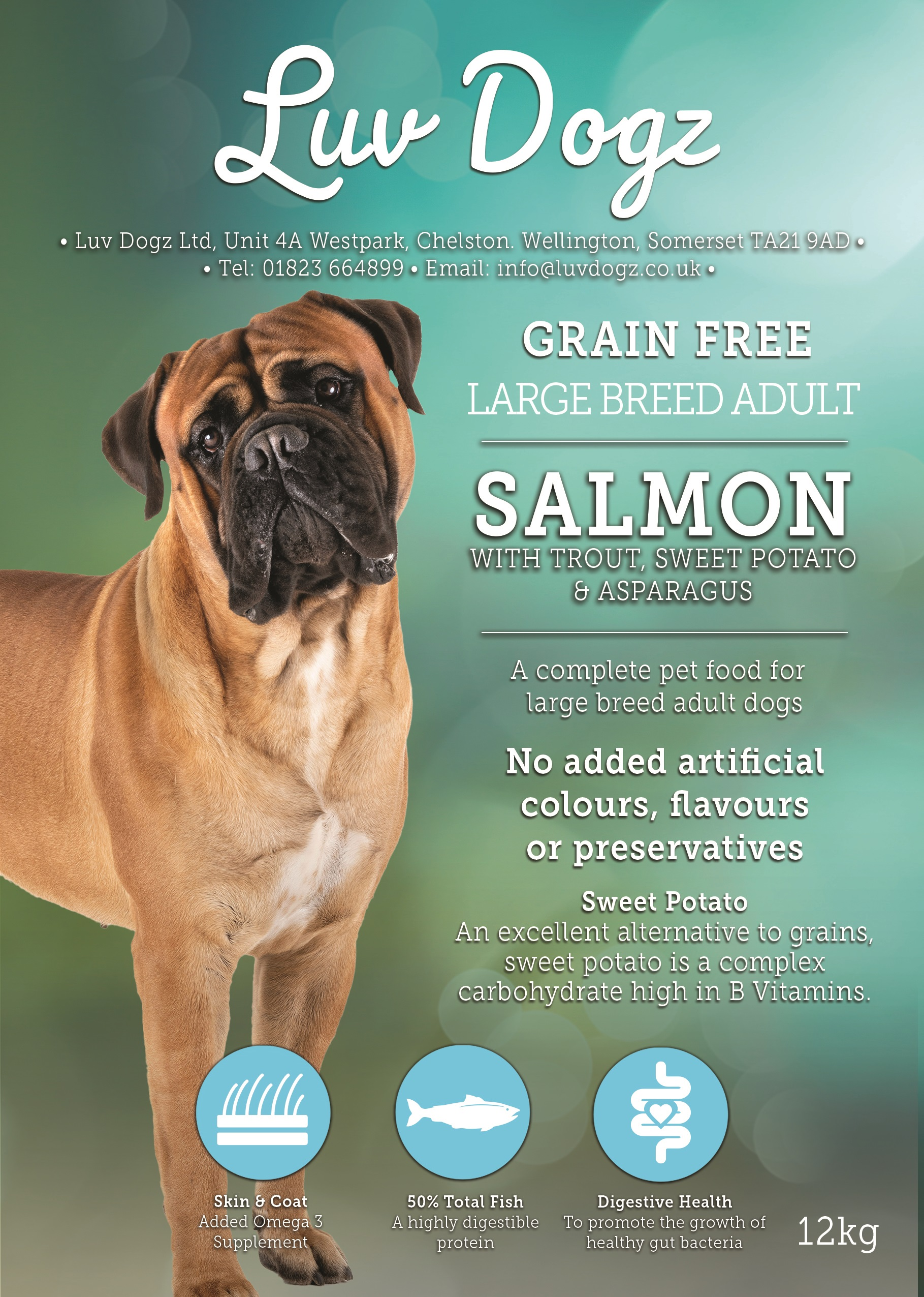 Grain Free Large Breed Adult 50% Salmon With Trout Sweet Potato and Asparagus