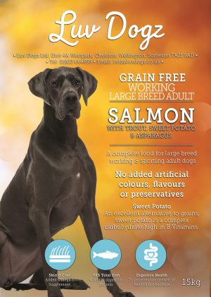 Working Grain Free Large Breed Adult 50% Salmon With Trout Sweet Potato and Asparagus