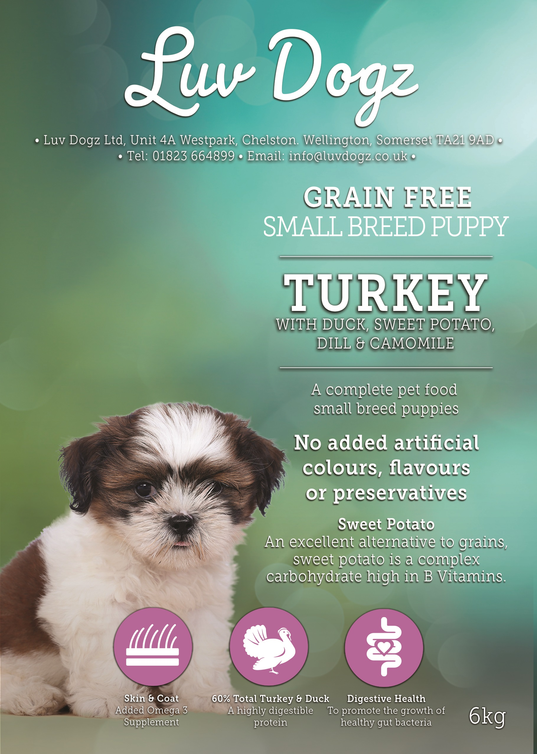 Grain Free Small Breed Puppy Turkey With Duck & sweet Potato